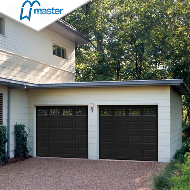 windload rated residential timber look metal roll up garage doors with glass