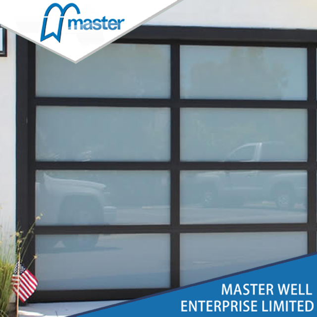 Interior tempered glass alumium garage door with passing door