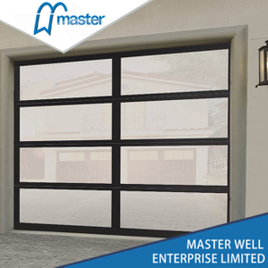 Single Car Full View Frameless Frosted Glass Aluminum Garage Door